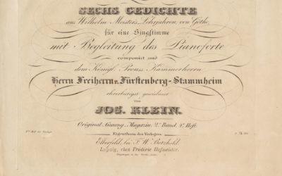 J. Klein: A Wilhelm mester tanulóévei hat költeményének megzenésítése