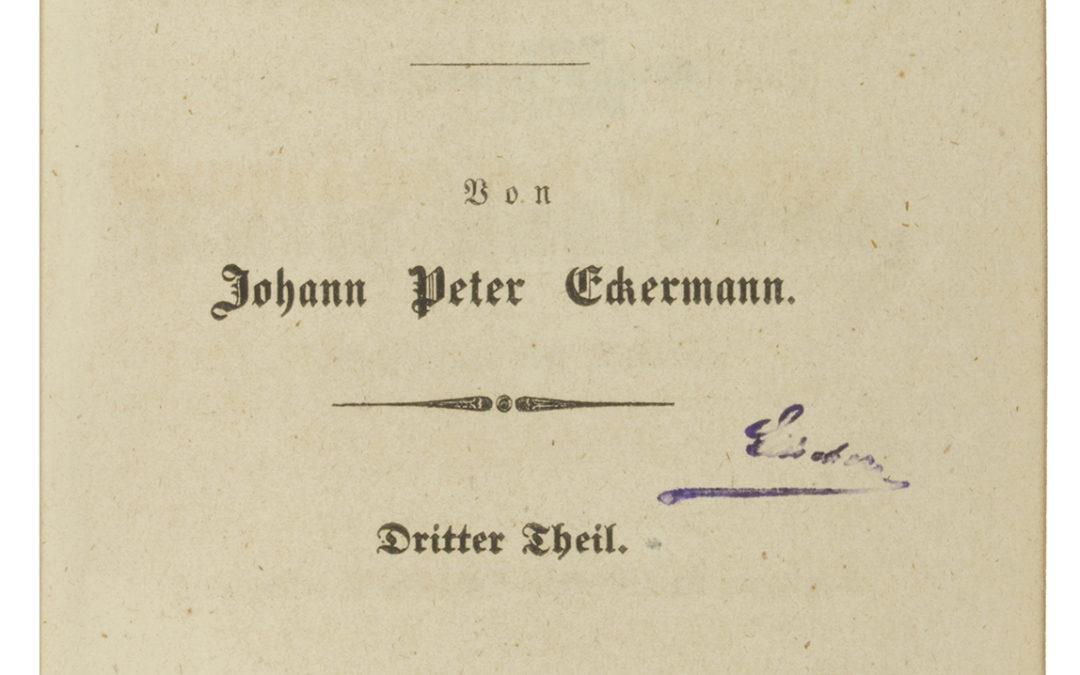 J. P. Eckermann: Beszélgetések Goethével