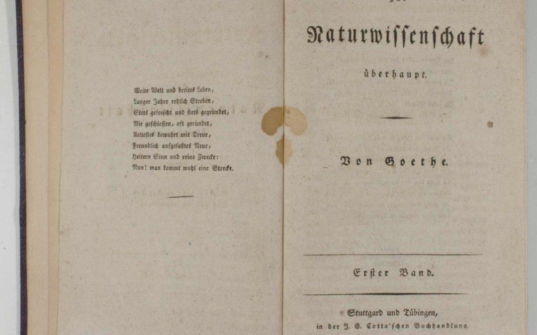 Zur Naturwissenschaften überhaupt von Goethe, Stuttgart und Tübingen